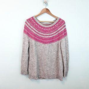 Loft Pullovef Knit Sweater Pink & Gray